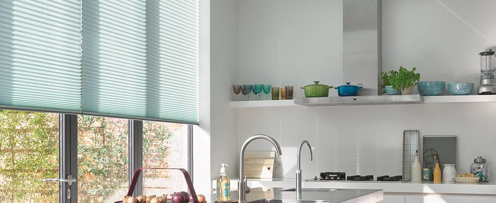 plisse shades kitchen